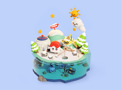 PopsLand avatar christmas snow icecream island 3d