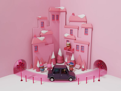 3D City - Heetch christmas gifts car appartment buildings city blender character illustration octane 3d