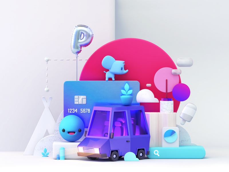 MKT Clients graphic search elephant balloons composition car 3d