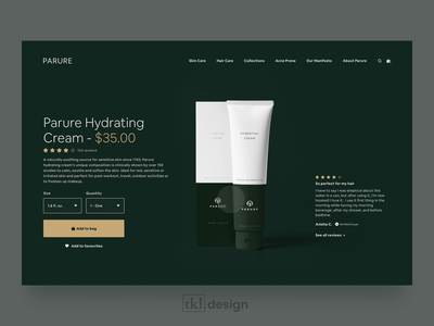 Parure Product Page - Shot Rebound luxury uidesign webdesign luxurious minimal hair haircare green beauty product page ecommerce ux ui minimalist