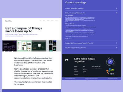 PasciVite — Work Pages landingpage minimalist agency user experience