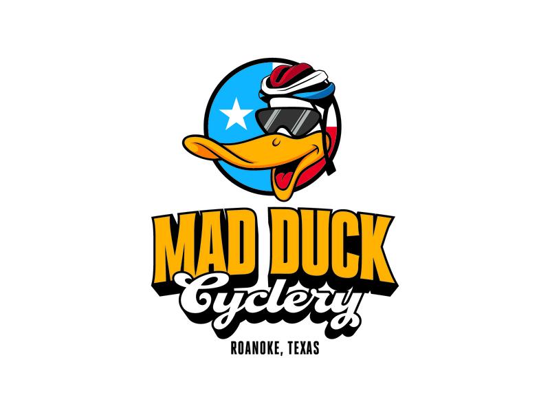 Mad Duck Cyclery Logo Update mascot branding typography type script illustration logo