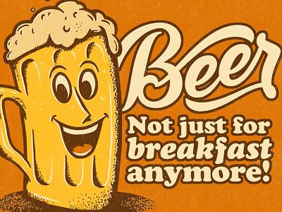 Beer breakfast handlettering lettering script orange mug glass illustration beer