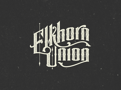 Elkhorn Union victorian pointy type custom lettering logo