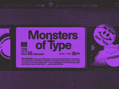 Monsters of Type VHS typography purple cassette tape vhs