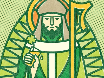 St Patrick Illustration stained glass beer green holiday st patrick