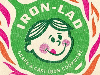 Iron Lad vintage logo mascot illustration iron midcentury