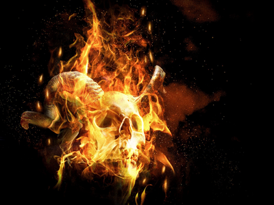 Fire Fire scary demon devil horns fire skull