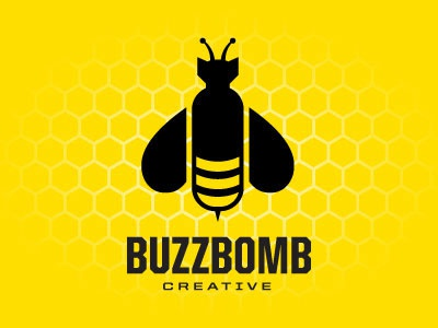 Buzzbomb Creative Logo logo yellow bee bomb