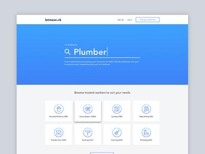LetMeWork Landing Page web design ux ui material landing page