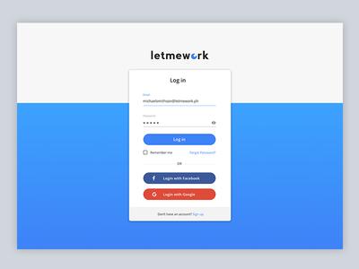 LetMeWork Login Page web application ux ui login