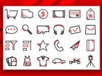 Shopping Red Outline icon