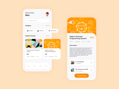 Course App - UI app design screens knowledge learning app online course virtual class learning education course online school mobile design online class application icon graphic design branding ux ui app screen design