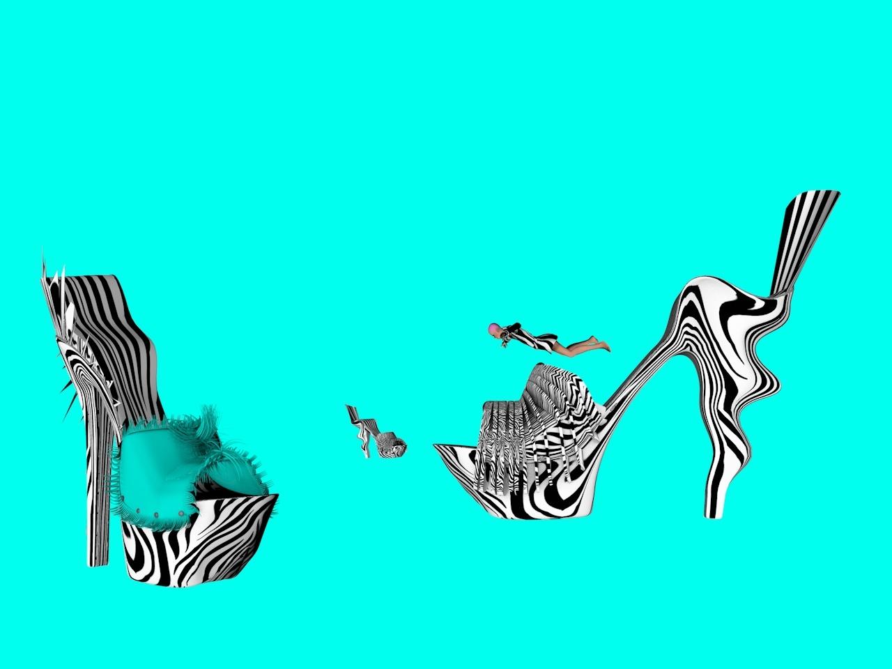Swimming fashion 3dfilms animation fab design shoes design 3d illustration fashion design