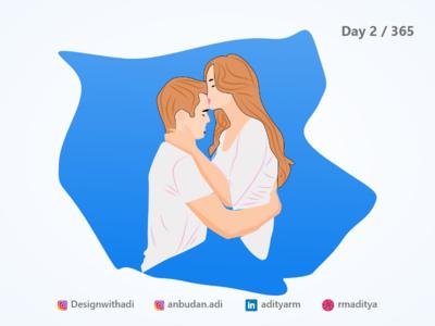 Couple Kissing - Illustration
