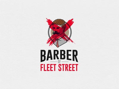 Barber of Fleet Street, Grooming Products Branding vector design brand identity branding mark logo cajva red fleet street barber logo barber shop grooming barber