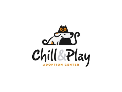 Chill&Play Adoption Center | Logo Design identity branding mark logo cajva pet care dog cat animals logo animals illustrated friends furry pet pets animals