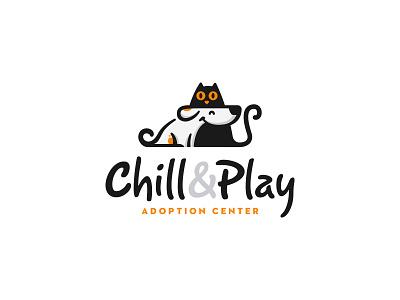 Chill&Play Adoption Center   Logo Design identity branding mark logo cajva pet care dog cat animals logo animals illustrated friends furry pet pets animals