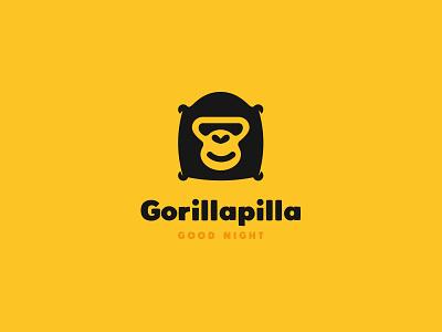 Gorillapilla design brand identity branding logo cajva ape yellow and black moon sleep stars good night pillow gorilla