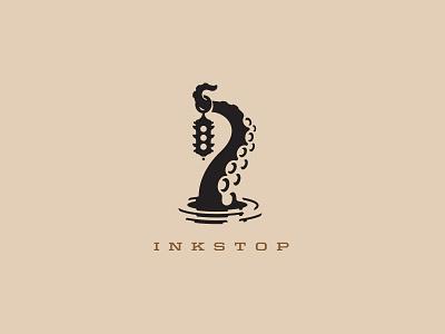 Inkstop Tattoo Supplies Logo Design squid underwater brand identity branding mark logo cajva tentacle octopus tattoo ink
