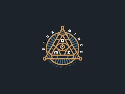 Dark Minds Urban Clothing brand emblem identity branding mark logo cajva piramid eye illuminati minds dark dmz