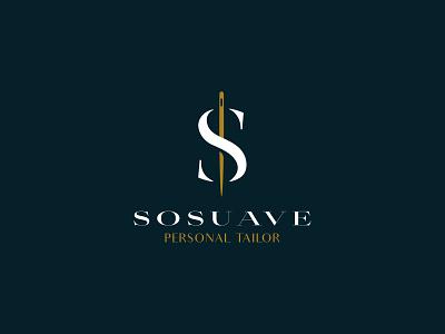 Sosuave Personal Tailor Logo Design brand identity branding mark logo cajva elegant needle s fashion croitor tailor suave sosuave