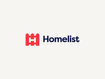 Homelist Real Estate Logo Design design brand emblem identity branding mark cajva house logo fence real estate home house