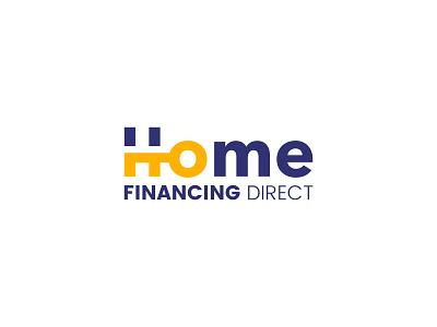 Home Financing Direct Logo Design real estate logo design blue yellow identity branding cajva lender mortgage real estate house home logo key real estate logo