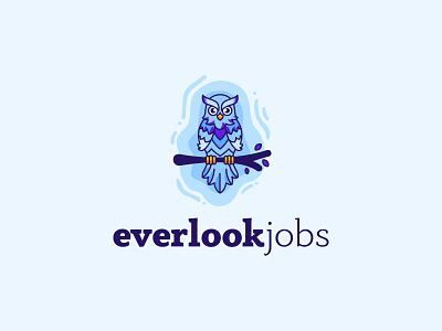 everlookjobs logo design illustration vector logo identity branding mark cajva winter bird illustrative logo illustrative owl everlook