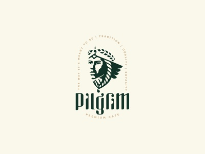 Pilgrim Premium Cafe emblem identity branding mark logo cajva premium royality tradition coffee cafe religious traveler pilgrimage pilgrim