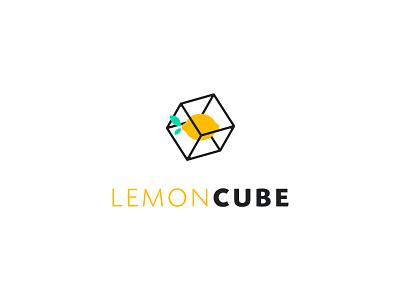 Lemon Cube cube logo design identity branding mark cajva wireframe yellow lemoncube tech citric fresh logo cube lemon