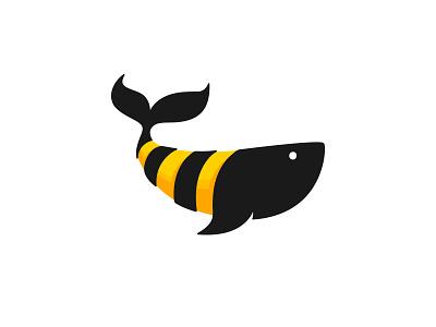 Honey Whale yellow black ocean sweet cajva collection logo creative whale honey