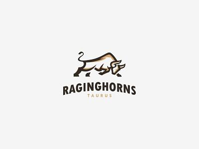 Bull Raging Horns Taurus Logo cajva identity branding emblem mark logo animal taurus bull rage gold