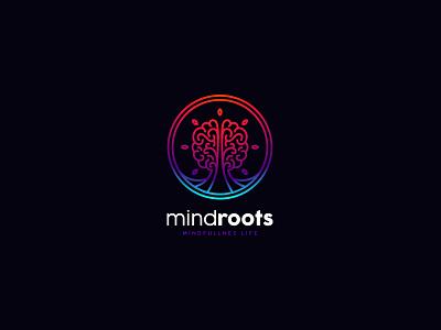 MindRoots Mindfullness Life identity branding psychology life cajva brand logo tree brain mind