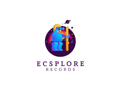 Ecsplore Records explore vector illustration design brand identity cajva emblem branding mark logo universe cosmos binocular records ecsplore playful lego