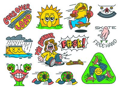 Skateboarding Stickers design stickers doodle illustration fun skateboarding