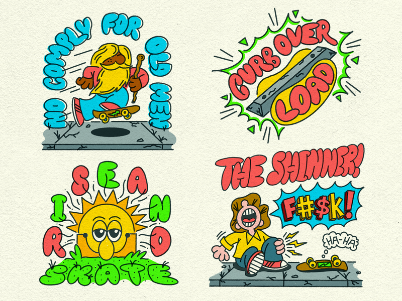 Skateboarding Stickers Round 2 old man curb sun rise and shine no comply design doodle illustration fun skateboarding