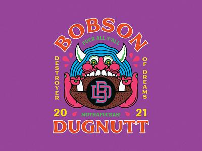 Bobson Dugnutt demon logo design doodle fun illustration fantasy football