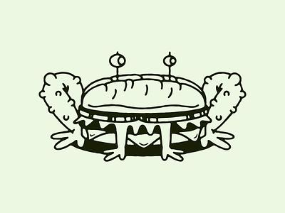 Frogwich doodle illustration fun sandwich frog