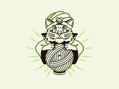 Catune Teller ryan wattaul yarn ball fortune teller doodle fun illustration cat