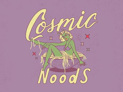 Cosmic Noods custom script illustration fun ramen cosmic alien noodles type