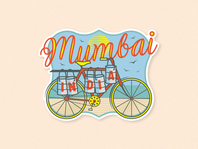 Mumbai Sticker custom type yellow red fun dabbawalla dabba bike india mumbai