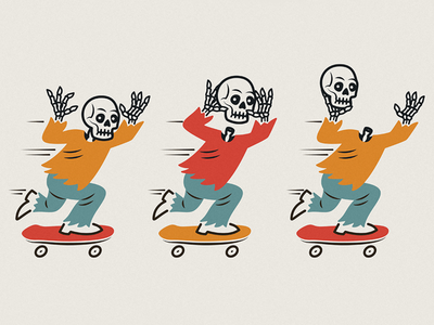 Skele Boarders doodle fun bones skulls skateboard skateboarders skeletons