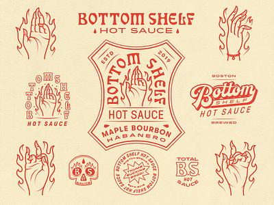 Bottom Shelf label typography vector hot burning boston skull hands hot sauce lettering logo illustration fun
