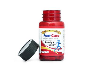 Fem-Care Concept Label Design ayurvedic capsule medicine fem-care medical packaging design label design packagingpro package brand design branding concept illustration logo product packaging label