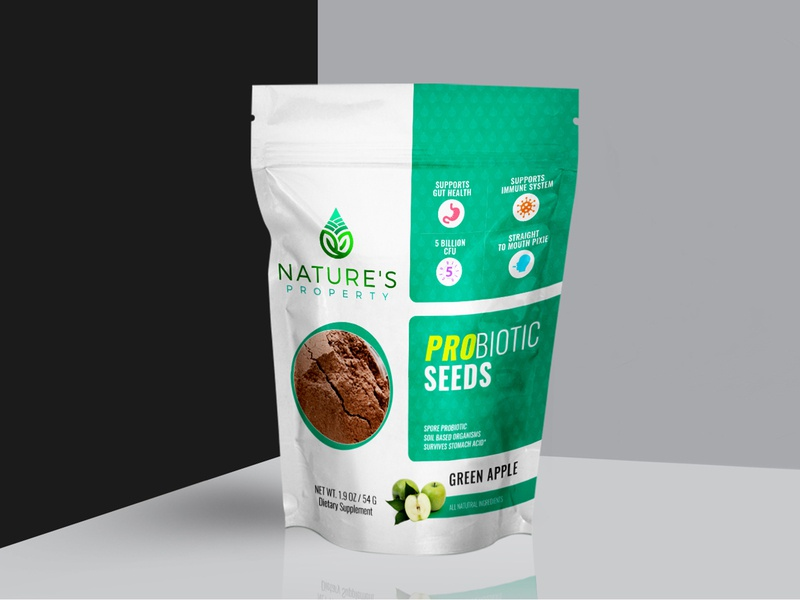 Probiotic Seeds Concept Label Design nature seed probiotic packaging design label design packagingpro branding design concept illustration package brand logo product packaging label
