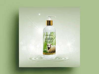 Lanolin Body Lotion Concept Label Design