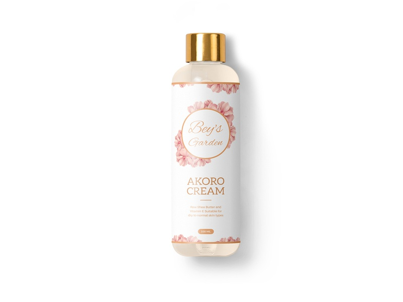Bey's Garden AKORO Cream Packaging Design beauty cream label design packaging design branding packagingpro logo design package brand label product packaging
