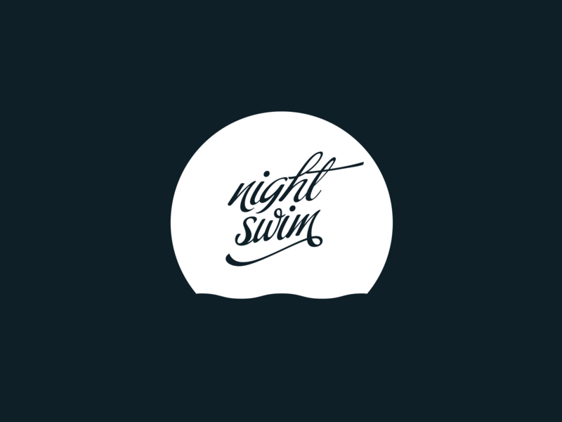 Night Swim script font script night water ocean moon mark identity logo branding