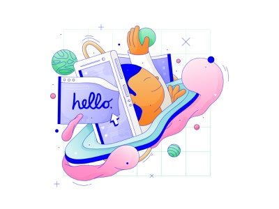 daydream escaping illustrations ui minimal design character illustrator graphic vector flat logo icon illustration